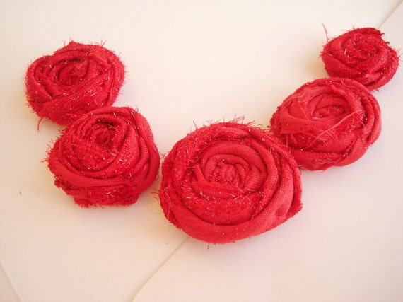 5 Glittery Red Rolled Fabric Roses Rosettes Handmade Fabric Flowers bright sparkle dazzling