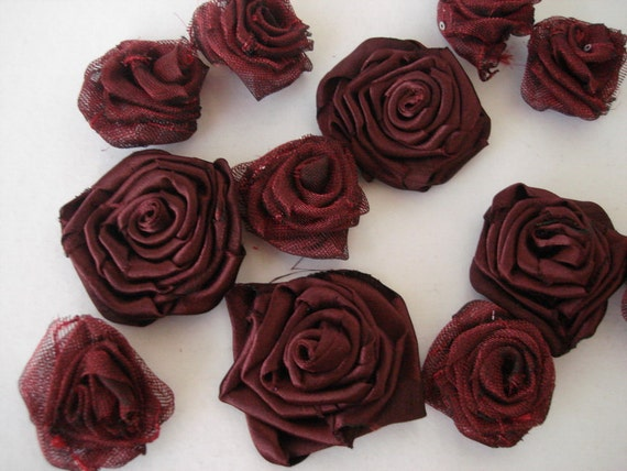 8 mini Rosette applique sewing  project Organza Tulle Flowers with 4 satin burgundy maroon roses