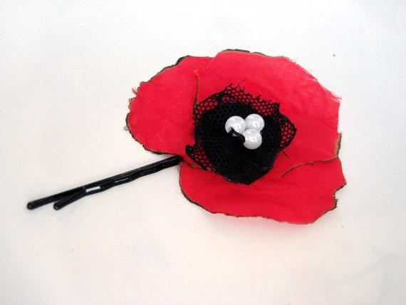 Natural poppy  hair flower  fabric Hair Pins, red  hair accessory