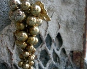 Vintage Brass Grapes - necklace -