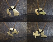 State Loves State - You Choose - State Charm Necklace - Brass, Gold Plated, or Silver Plated Finishes