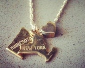 State Loves State - Gold Filled Chain with Gold Plated State Charms Necklace