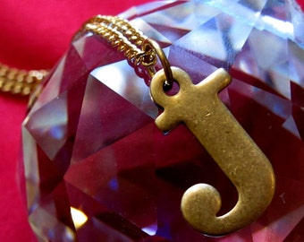 Vintage Brass J Initial Letter Necklace