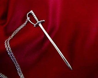 Sterling Silver Cocktail Sword Pendant Necklace