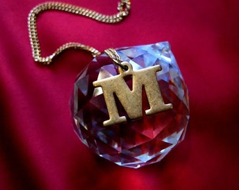 Vintage Brass M Initial Letter Necklace