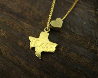 Texas Love - State Charm Necklace - 18 Inches