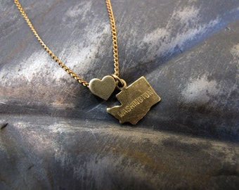 Washington Love - State Charm Necklace - 18 Inches