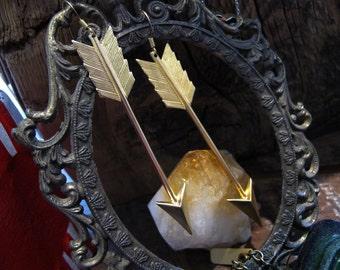 Arrow Brass Pendant Earrings - Large