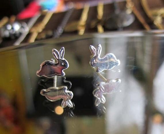 Sweet Little Bunny Stud Earrings - Sterling Silver - LAST Pair