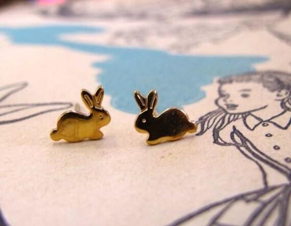 Sweet Little Bunny Stud Earrings - 18k Yellow Gold Vermeil -