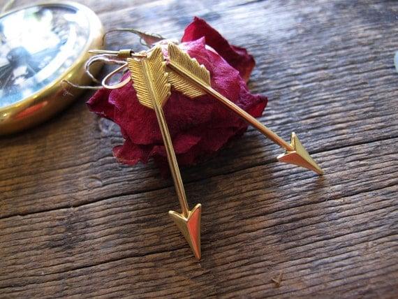 Straight As An Arrow Brass Charm Dangle Earrings