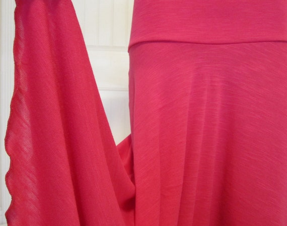 Ladies long, modest, fuschia pink maxi  knit missionary, travel,  or work skirt in rayon lycra jersey, size s/m