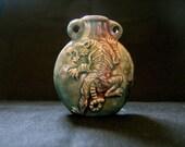 Raku Ceramic Bottle Bead - Tiger