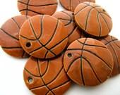 10 Large Basketball Pendants - ceramic, peruvian, sports, clay, team, ball