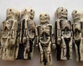 4 Tiny Ceramic Skeleton Beads - peruvian, halloween, skull, spooky, charms - CB579