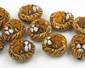 4 Tiny Lion Head Beads - animal, ceramic,  peruvian - CB452