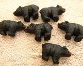 20 Tiny Black Bear Beads - CB33