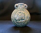 Raku bottle ceramic bead - Raven, Ceramic, Peruvian - RAKBOT52