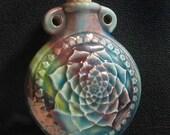 Raku Ceramic Bottle Bead - Lotus Flower