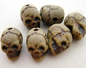20 Tiny High Fired Skull Beads - vertical holes - CB644