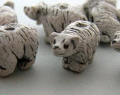 4 Tiny White Bear Beads - CB32