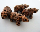 4 Large Grizzly Bear Beads - LG42
