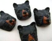10 Large Black Bear Head Beads