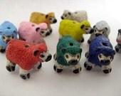 10 Ceramic Animal beads - Large Sheep (mixed) - LG523