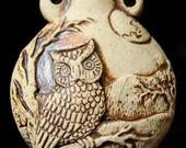 High Fired Bottle Bead - Owl - HFBOT68