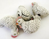 4 Large Hen Beads - White