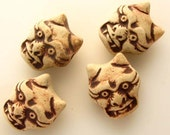 10 Highfired Devil Head Beads - TAN67