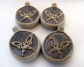 4 Highfired Butterfly Pendants - TAN166