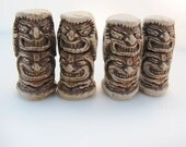 10 Highfired Tiki God Beads - Two Face
