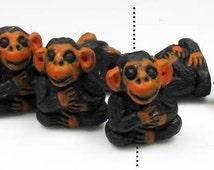 10 Tiny Monkey Beads, Animal, Ceramic, Peruvian, High Fired, jungle, wildlife, zoo - CB23