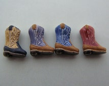 4 Tiny Cowboy Boot Beads - mixed