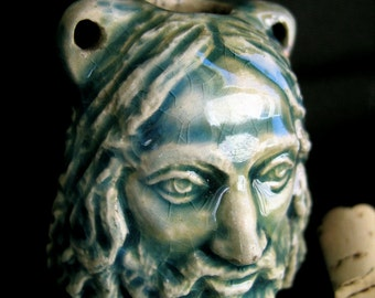 Raku Ceramic Bottle Bead - Jesus/Biker Bob - fairy tale beads - BOT23