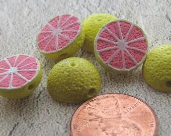 4 Tiny Grapefruit Beads - CB386