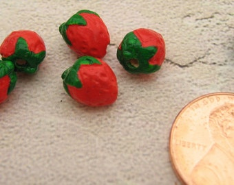 4 Tiny Strawberry Beads - CB239