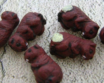 4 Tiny Beaver beads - Ceramic, Peruvian, Animal, - CB221