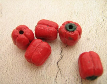 4 Tiny Red Pepper Beads