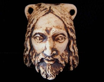 High Fired Ceramic Bottle Bead - Jesus - Biker Bob