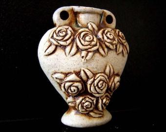 High Fired Ceramic Bottle Bead - Roses - HFBOT32