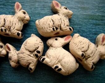 4 Rabbit Beads - peruvian, ceramic, high fired, bunny, animal - LG149
