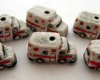 4 Tiny Ambulance Beads - CB659
