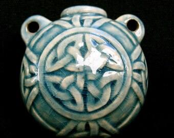 Raku Bead Ceramic Bottle - RAKBOT42Celtic Knot