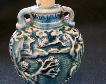 Raku Ceramic Bottle Bead - Asian Landscape