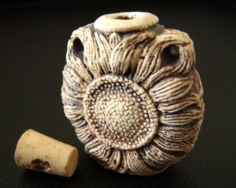 Sunflower high fired ceramic bottle bead - HFBOT19