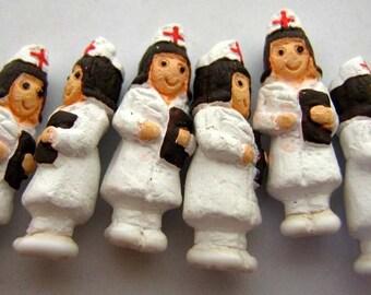 4 Tiny Nurse Beads - ceramic, peruvian, doctor, clay - CB726