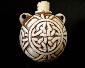 High Fired Ceramic Bottle Bead - Celtic Knot