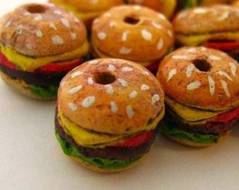 4 Ceramic Beads - Tiny Hamburger  - CB682